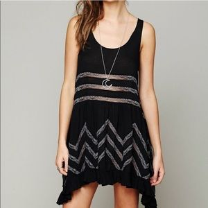 Free People Black Voile Lace Trapeze Slip